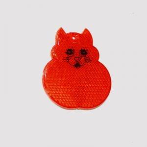 Czerwona zawieszka odblaskowa twarda kot
