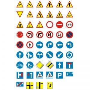 Zestaw mini znaków drogowych - 52 alementy