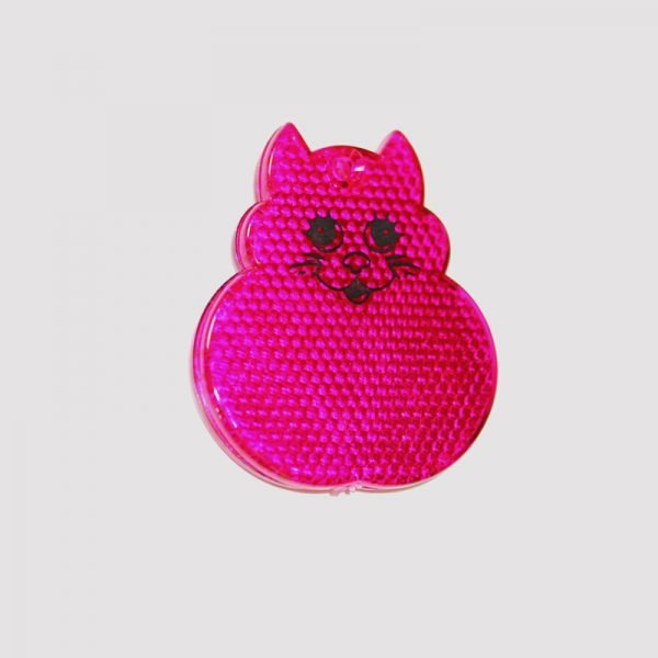 Różowa zawieszka odblaskowa twarda kot