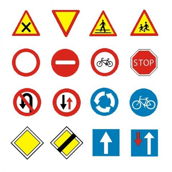 Zestaw mini znaków drogowych - 16 elementów