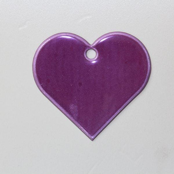 Zawieszka odblaskowa miękka - fioletowe serce