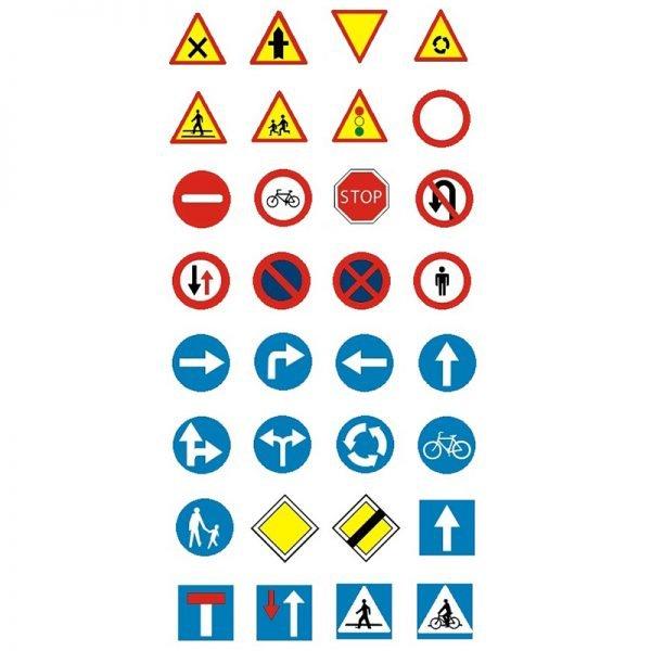 Zestaw mini znaków drogowych - 32 elementy
