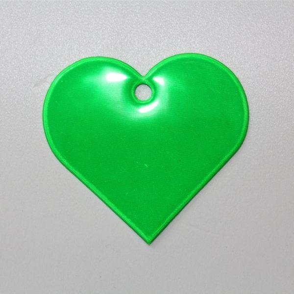 Zawieszka odblaskowa miękka - zielone serce