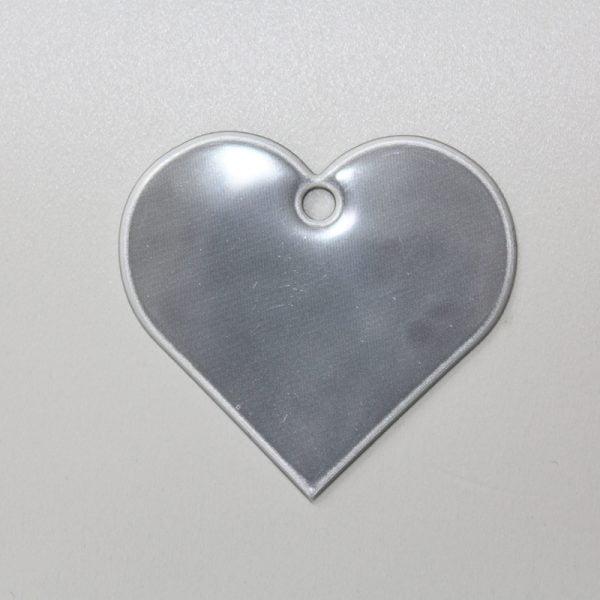 Zawieszka odblaskowa miękka - srebrne serce
