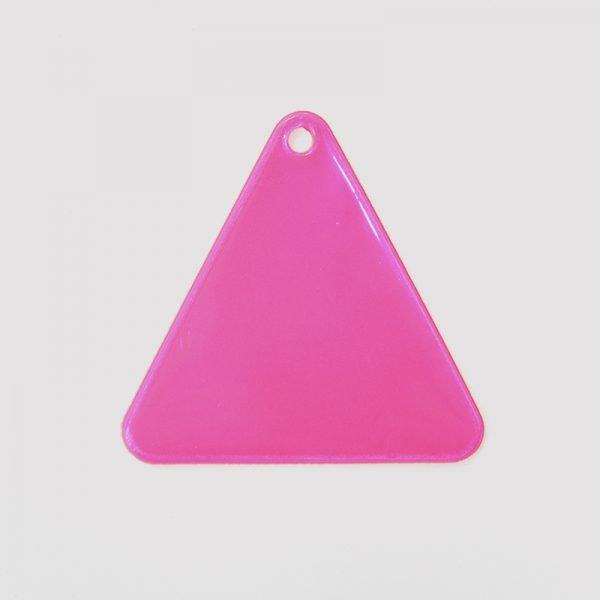 Zawieszka odblaskowa miękka - różowy trójkąt