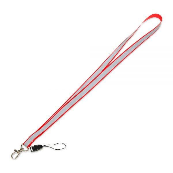 Czerwona smycz odblaskowa wąska 1,5 cm