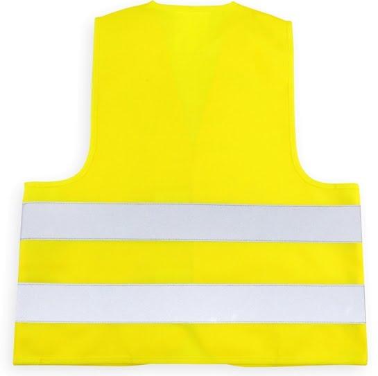 żółta kamizelka odblaskowa dla dzieci zapinana na rzep - tył
