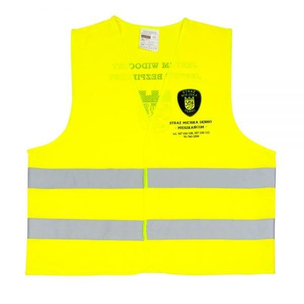 żółta kamizelka odblaskowa dla dorosłych - przykład nadruku przód