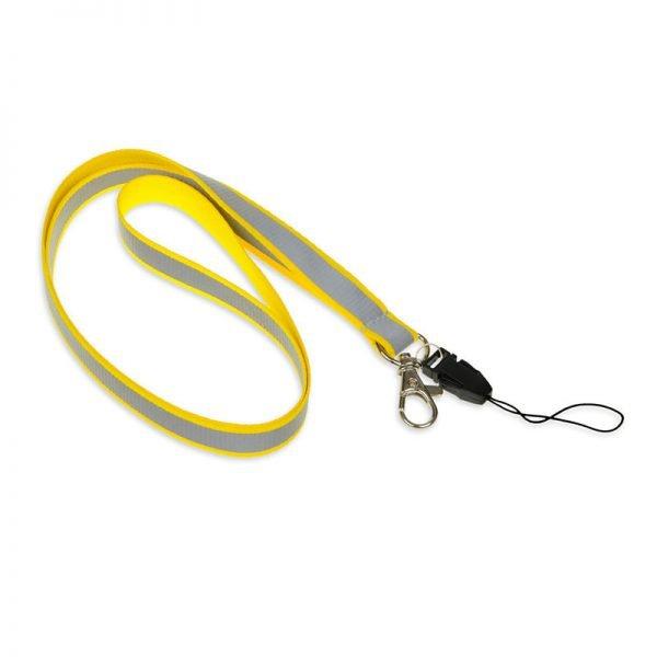 Żółta smycz odblaskowa wąska 1,5 cm