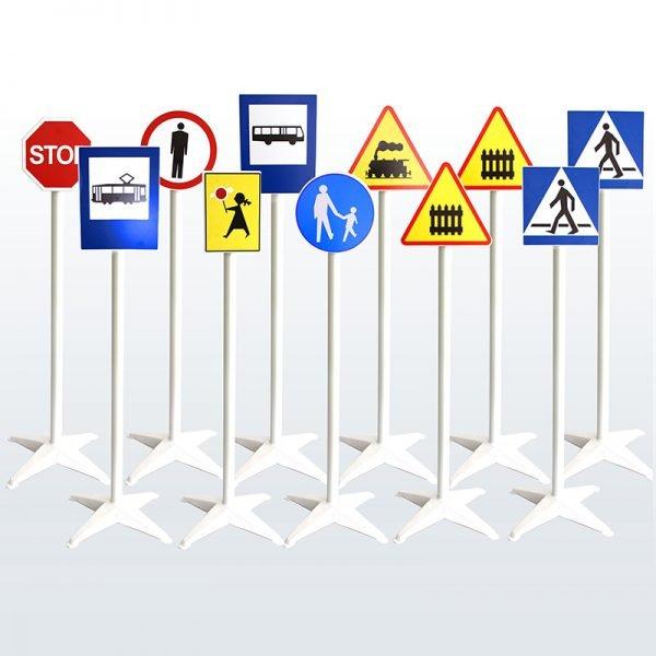 zestaw 11 mini znaków drogowych