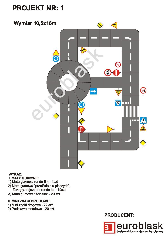 Projekt nr 1 – Mobilne miasteczko ruchu drogowego 10,5x16m